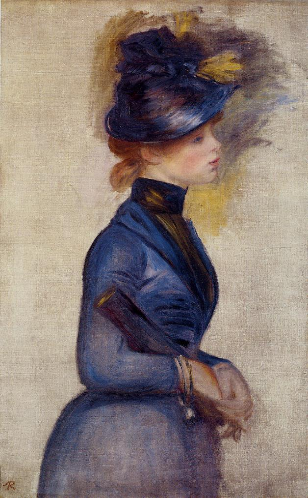 Young Woman in Bright Blue at the Conservatory 1877 | Pierre Auguste Renoir | Oil Painting