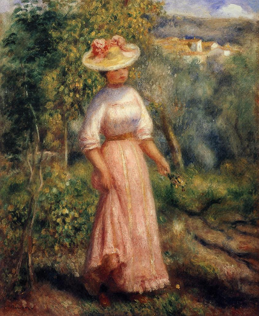 Young Woman in Red in the Fields 1900 | Pierre Auguste Renoir | Oil Painting