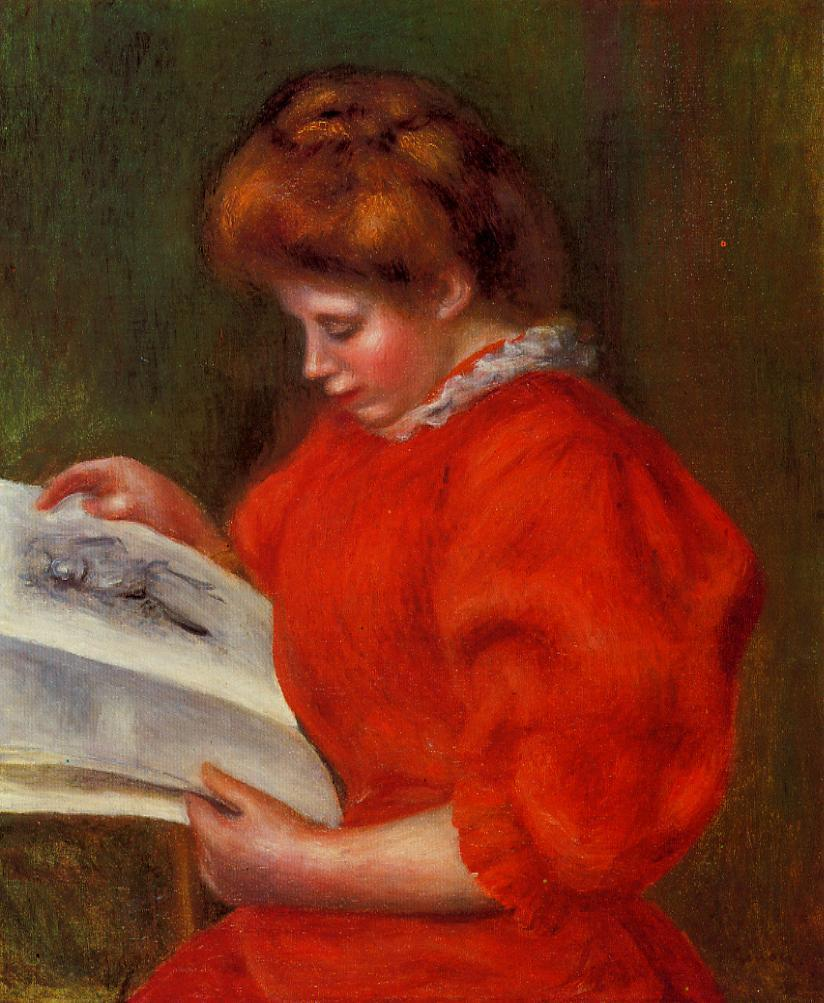 Young Woman Looking at a Print 1896 | Pierre Auguste Renoir | Oil Painting