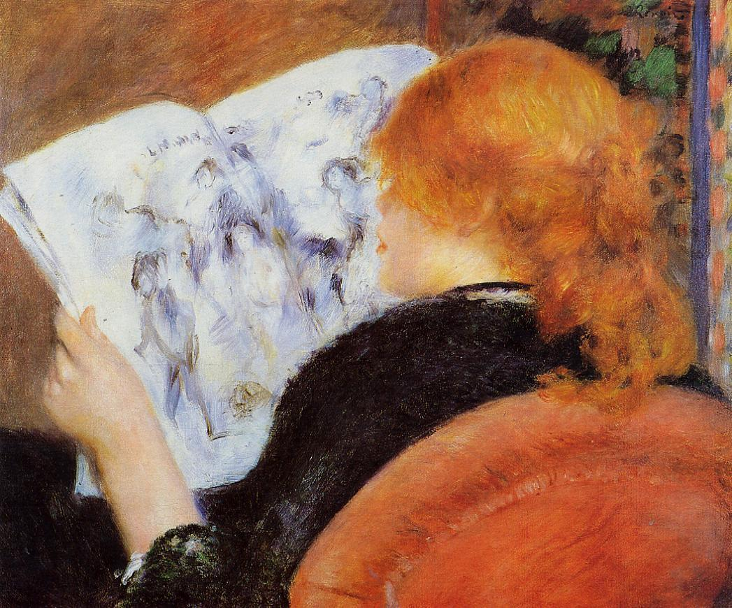 Young Woman Reading an Illustrated Journal 1880 | Pierre Auguste Renoir | Oil Painting