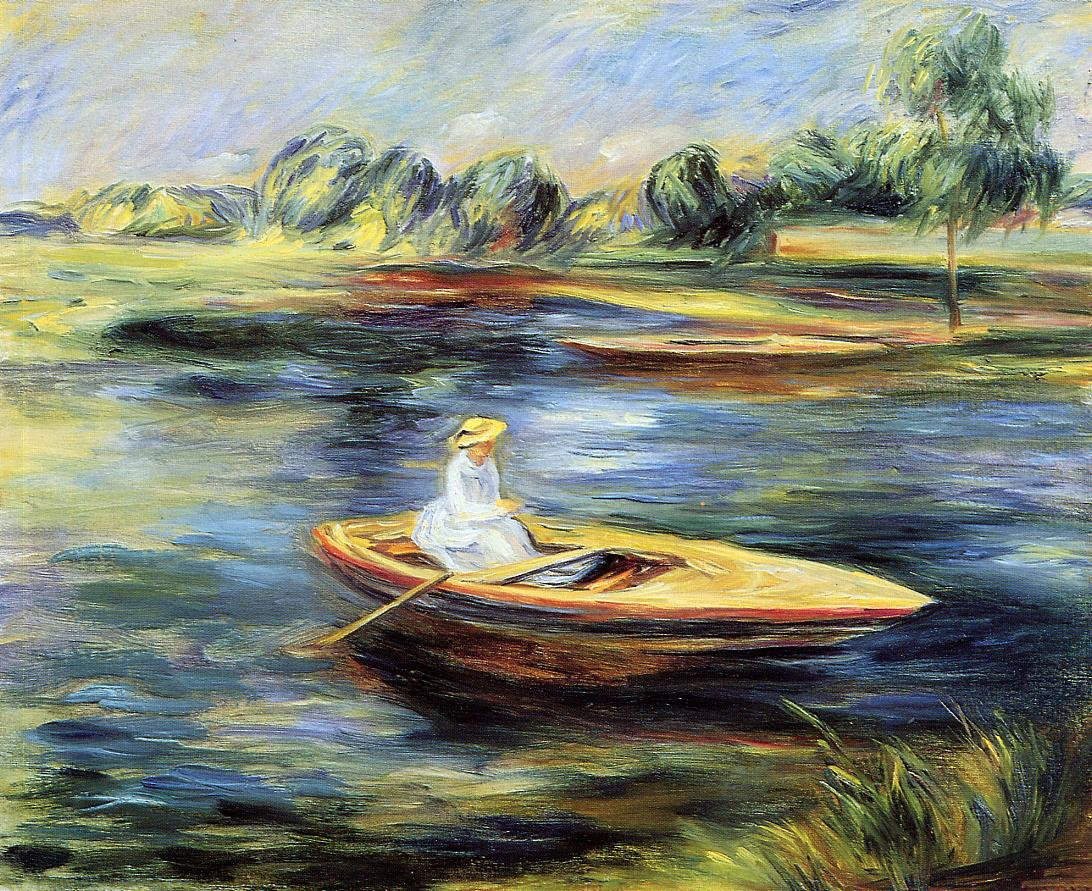 Young Woman Seated in a Rowboat | Pierre Auguste Renoir | Oil Painting