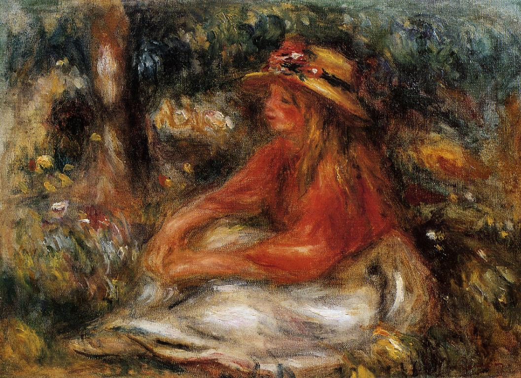 Young Woman Seated on the Grass 1905 | Pierre Auguste Renoir | Oil Painting