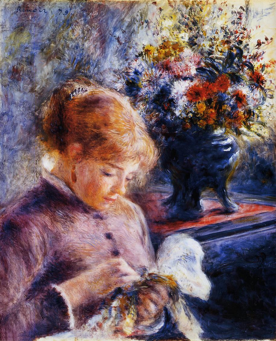 Young Woman Sewing 1879 | Pierre Auguste Renoir | Oil Painting
