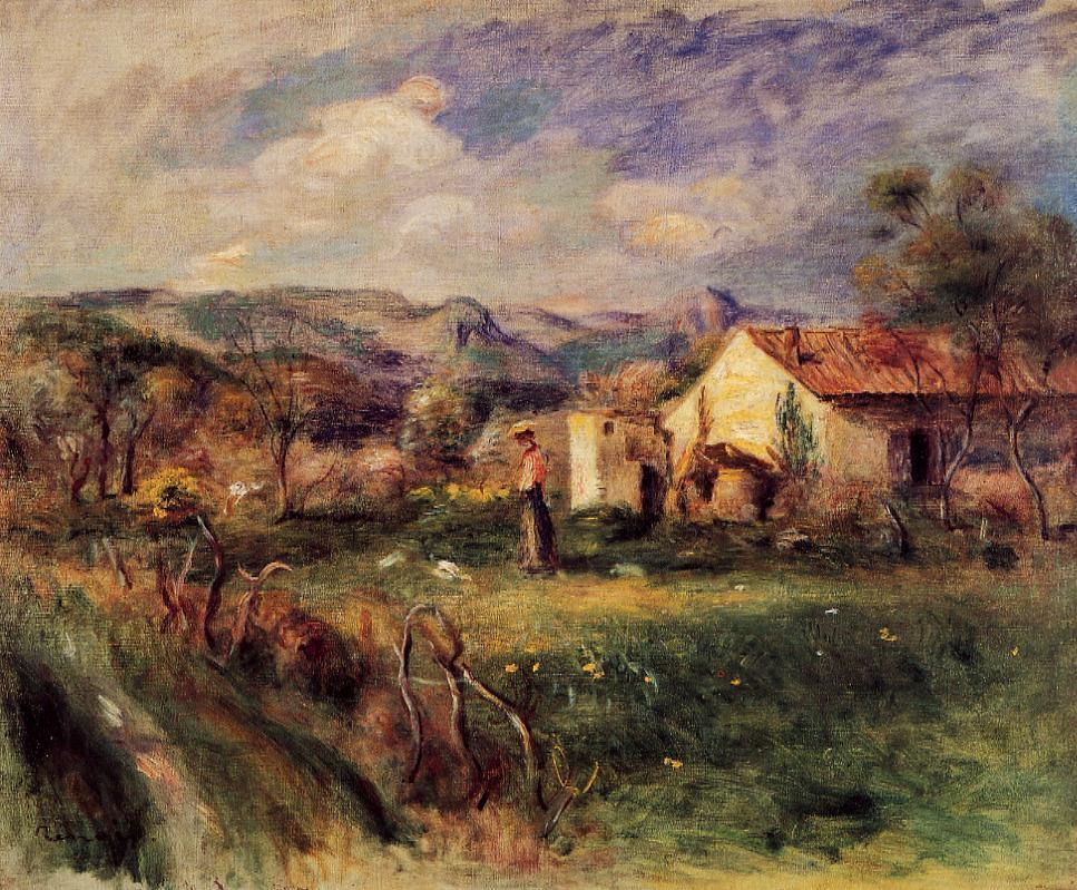 Young Woman Standing near a Farmhouse in Milly 1892 | Pierre Auguste Renoir | Oil Painting