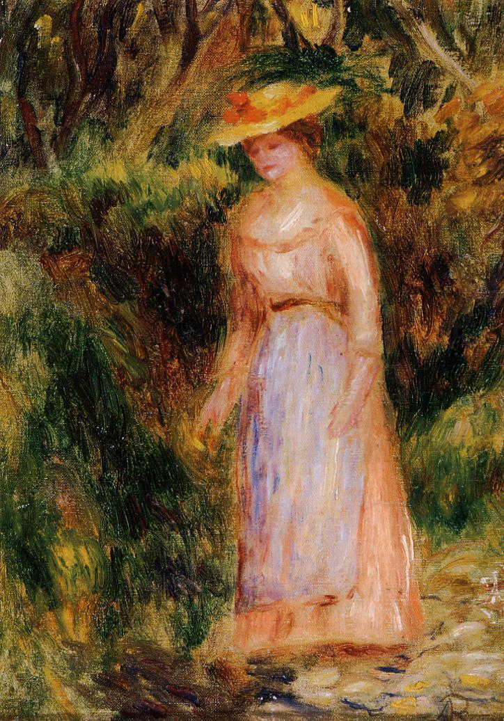 Young Woman Taking a Walk | Pierre Auguste Renoir | Oil Painting