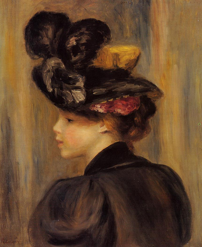 Young Woman Wearing a Black Hat 1895 | Pierre Auguste Renoir | Oil Painting