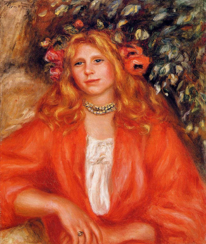 Young Woman Wearing a Garland of Flowers 1908 | Pierre Auguste Renoir | Oil Painting