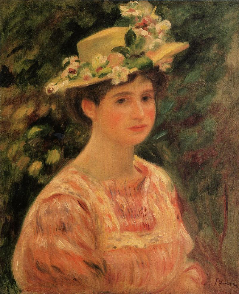 Young Woman Wearing a Hat with Wild Roses 1896 | Pierre Auguste Renoir | Oil Painting