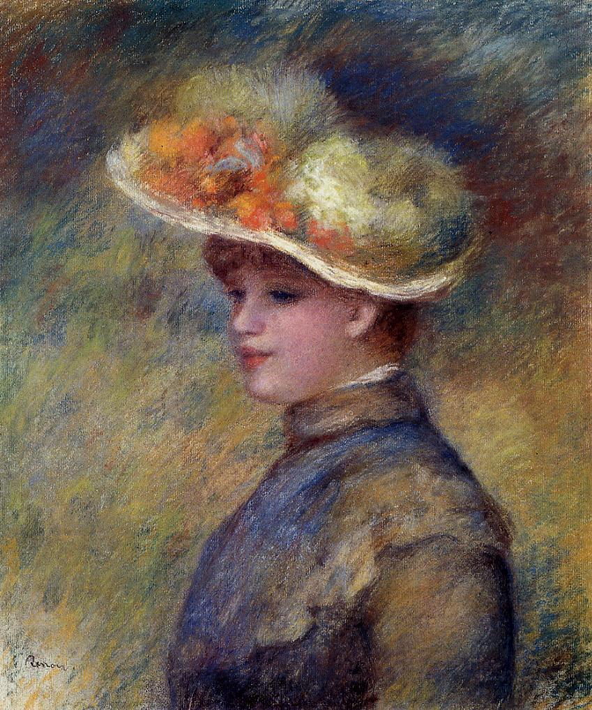 Young Woman Wearing a Hat | Pierre Auguste Renoir | Oil Painting
