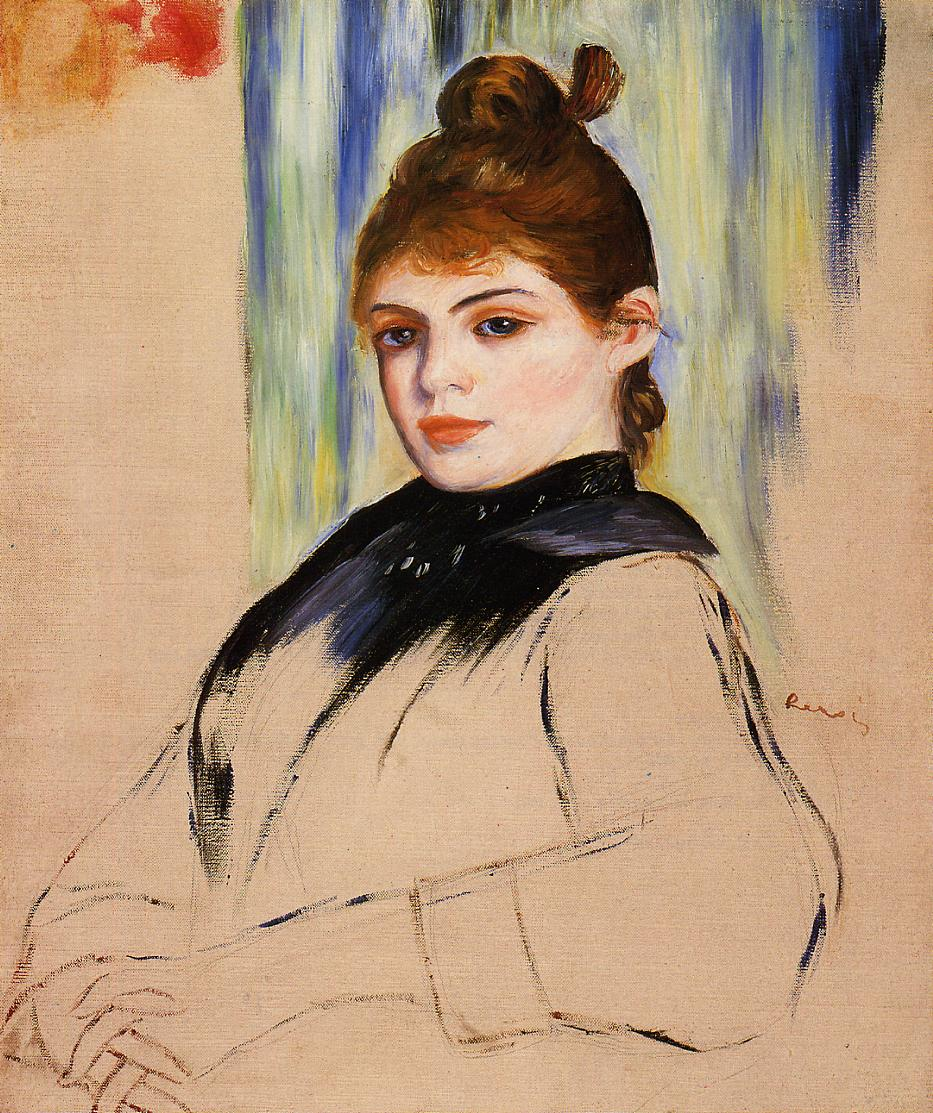 Young Woman with a Bun in Her Hair 1882 | Pierre Auguste Renoir | Oil Painting