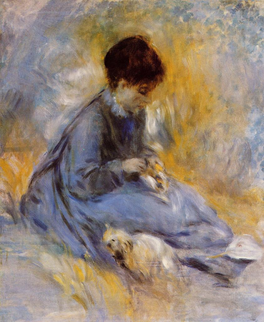 Young Woman with a Dog 1876 | Pierre Auguste Renoir | Oil Painting