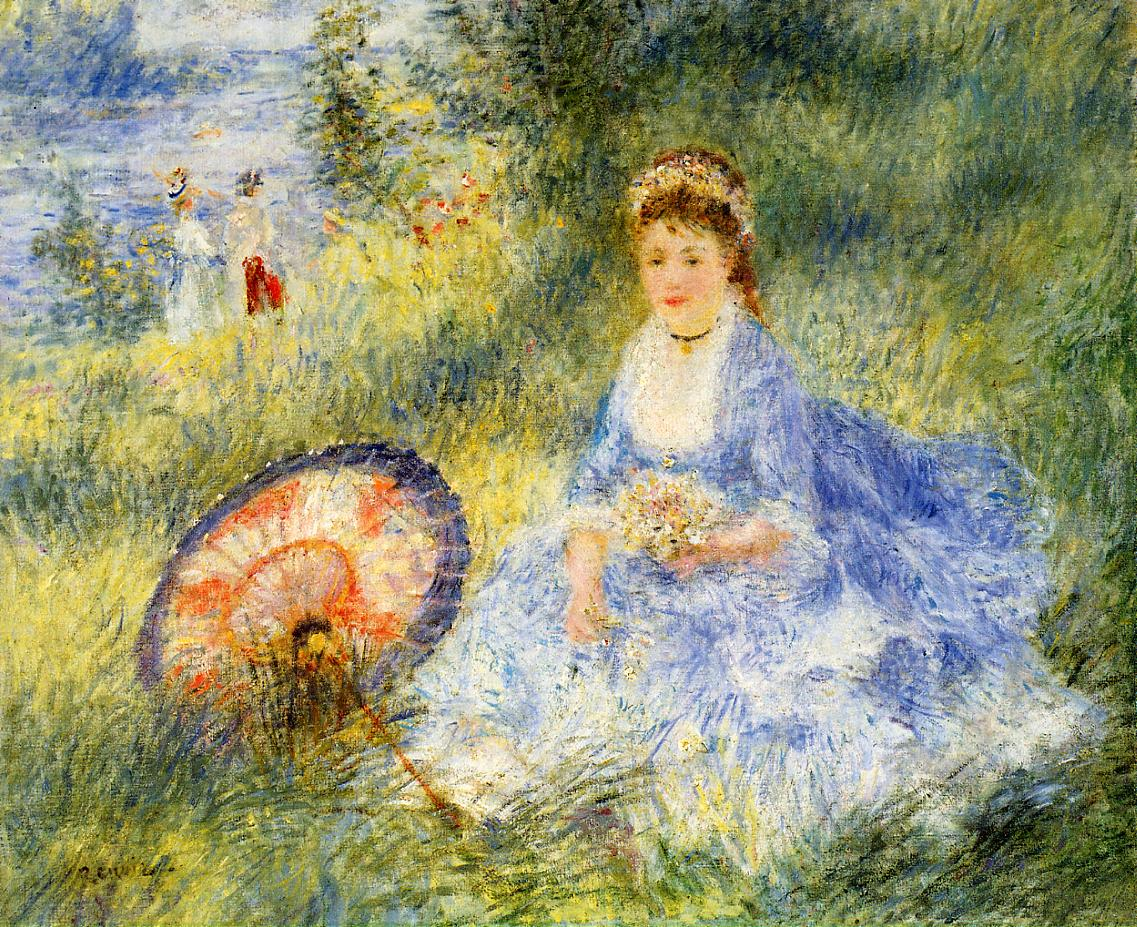 Young Woman with a Japanese Umbrella 1876 | Pierre Auguste Renoir | Oil Painting