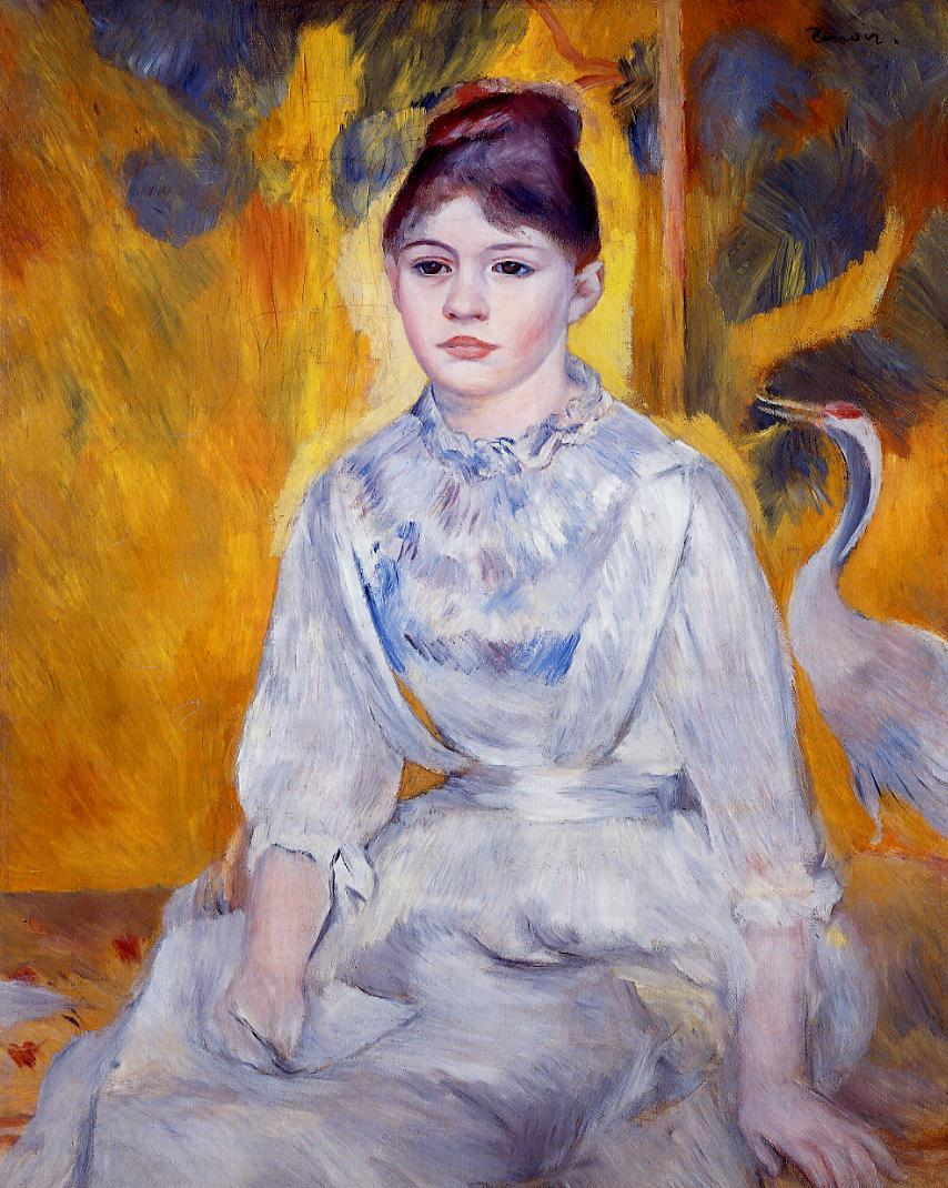 Young Woman with Crane 1886 | Pierre Auguste Renoir | Oil Painting