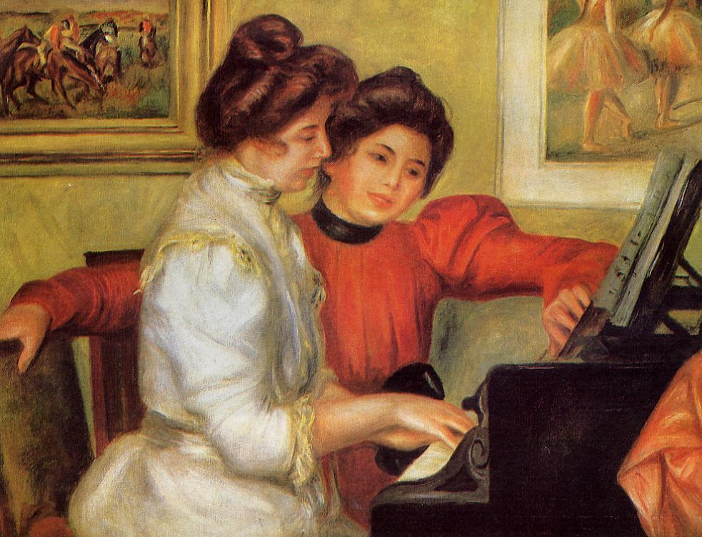 Yvonne and Christine Lerolle at the Piano 1897 | Pierre Auguste Renoir | Oil Painting