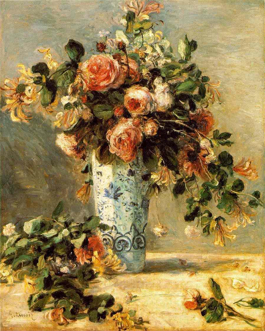 Roses and Jasmine in a Delft Vase 1880-1881 | Pierre Auguste Renoir | Oil Painting