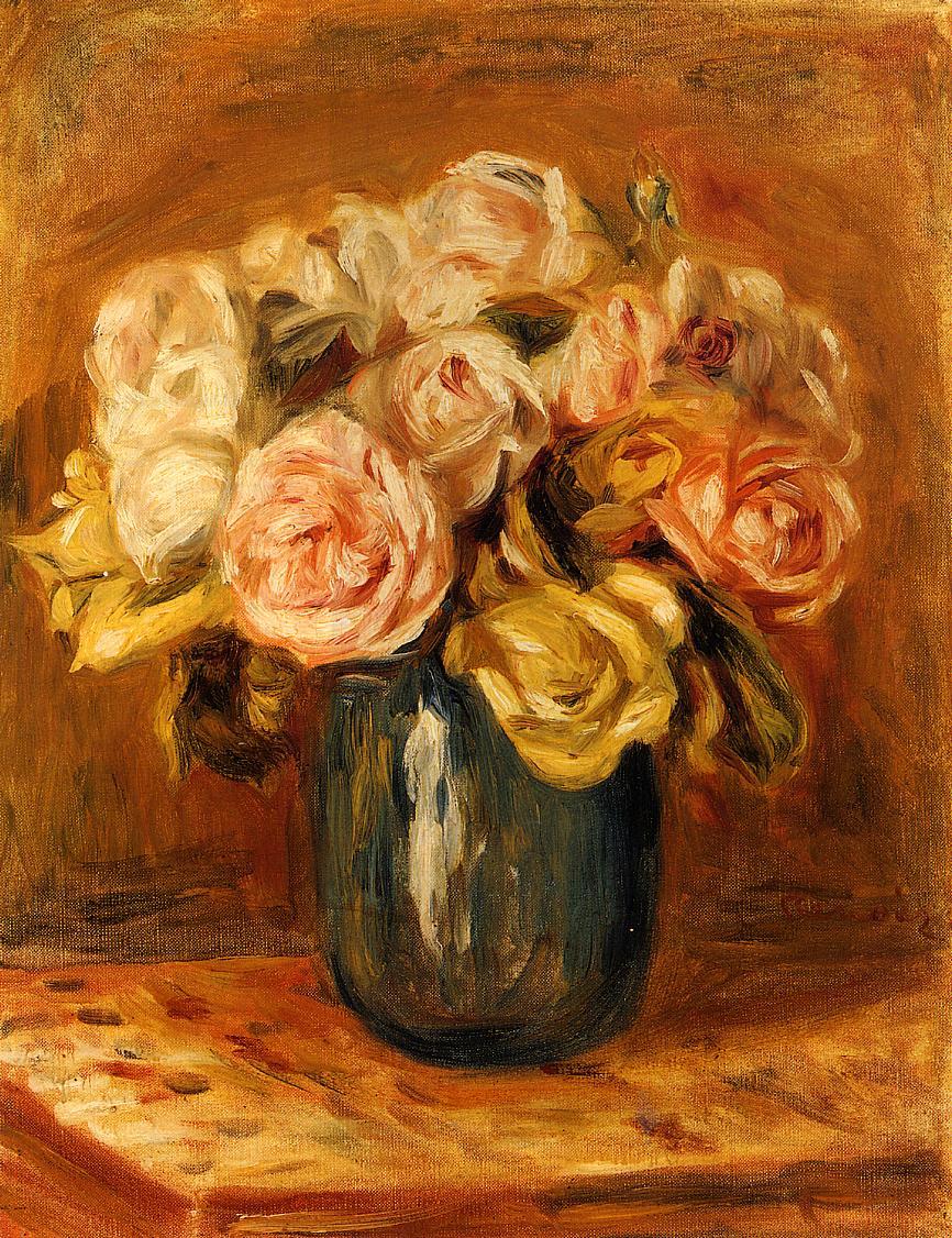 Roses in a Blue Vase 1906 | Pierre Auguste Renoir | Oil Painting