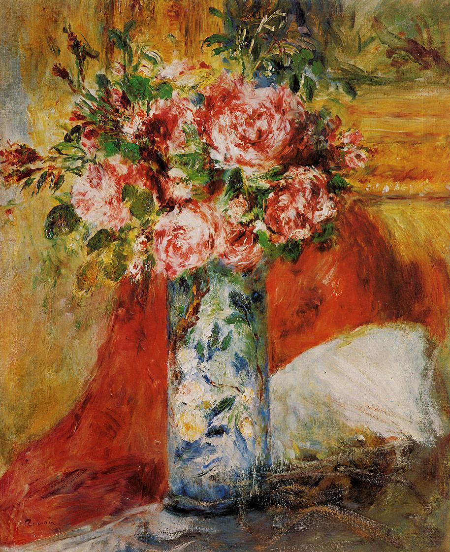 Roses in a Vase 1876 | Pierre Auguste Renoir | Oil Painting