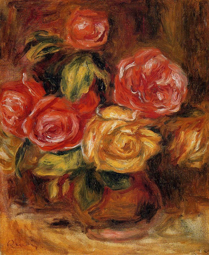 Roses in a Vase 1895 | Pierre Auguste Renoir | Oil Painting
