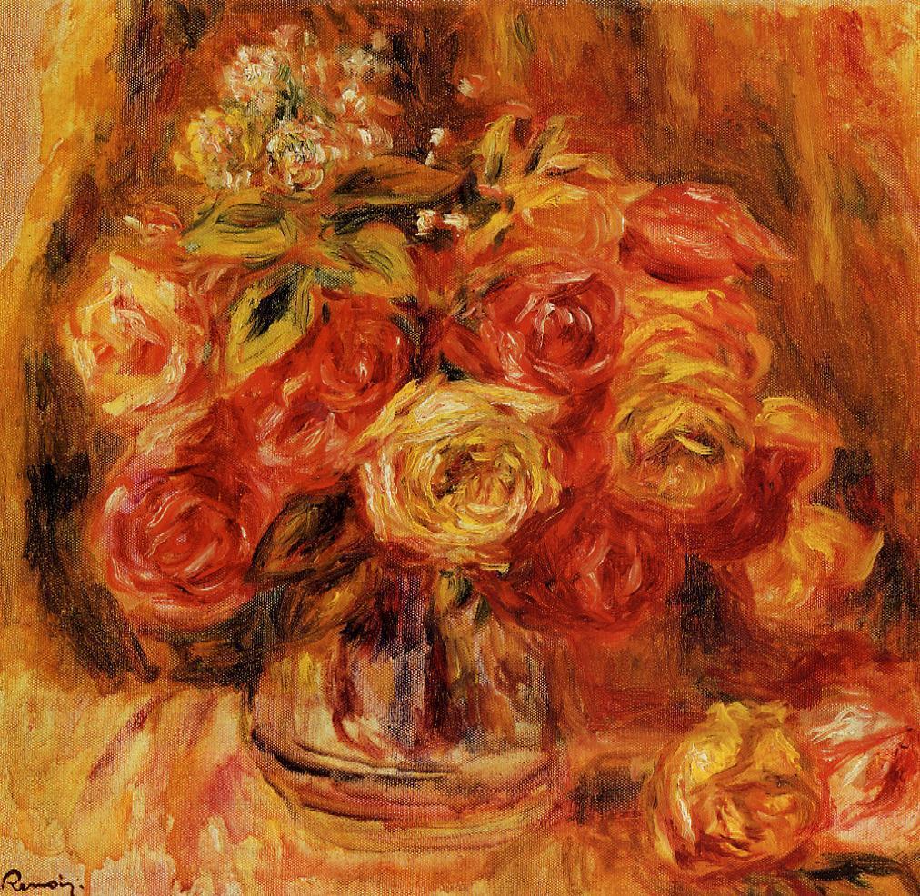 Roses in a Vase 1911-1912 | Pierre Auguste Renoir | Oil Painting