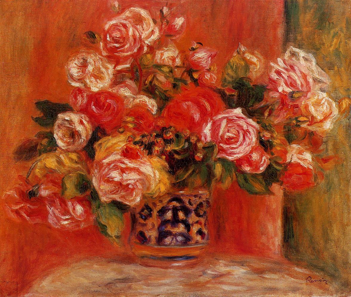 Roses in a Vase 1914 | Pierre Auguste Renoir | Oil Painting