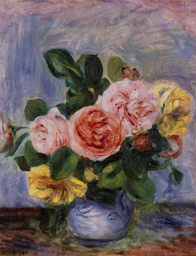 Roses in a Vase | Pierre Auguste Renoir | Oil Painting