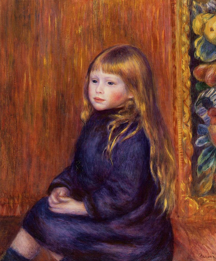 Seated Child in a Blue Dress 1889 | Pierre Auguste Renoir | Oil Painting