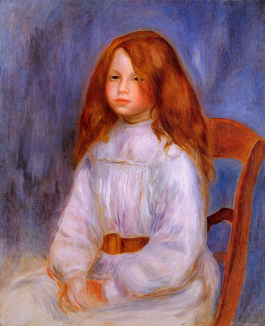Seated Girl with Blue Background 1912 | Pierre Auguste Renoir | Oil Painting