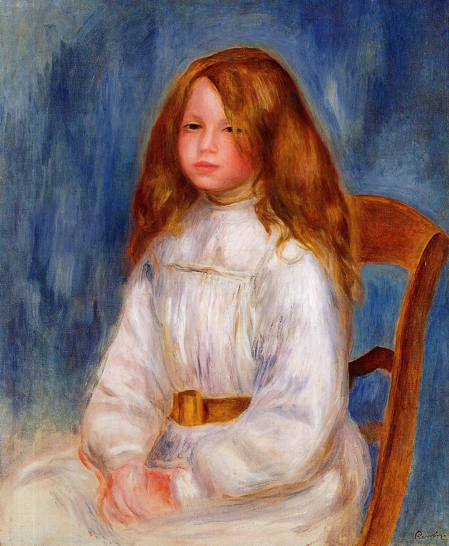 Seated Little Girl with a Blue Background 1890 | Pierre Auguste Renoir | Oil Painting