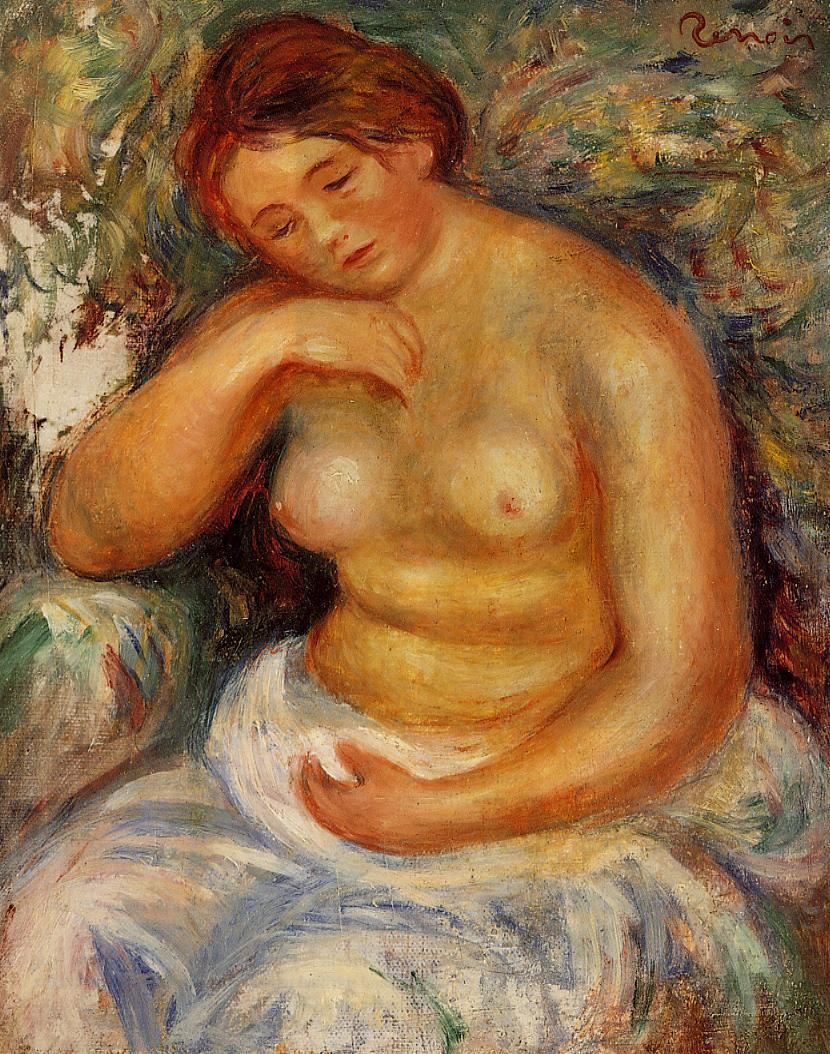 Seated Nude with a Bouquet 1914-1915 | Pierre Auguste Renoir | Oil Painting
