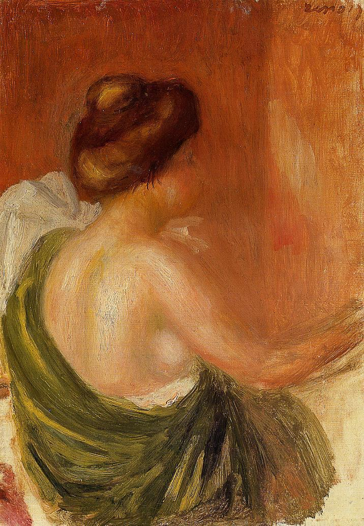 Seated Woman in a Green Robe 1890 | Pierre Auguste Renoir | Oil Painting