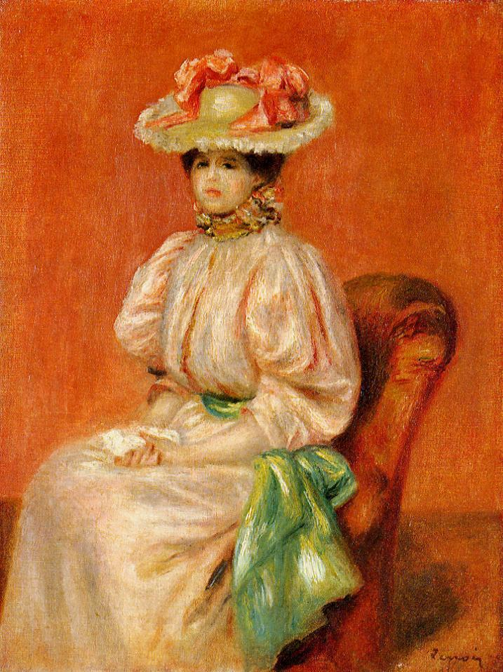 Seated Woman with Green Sash 1889 | Pierre Auguste Renoir | Oil Painting