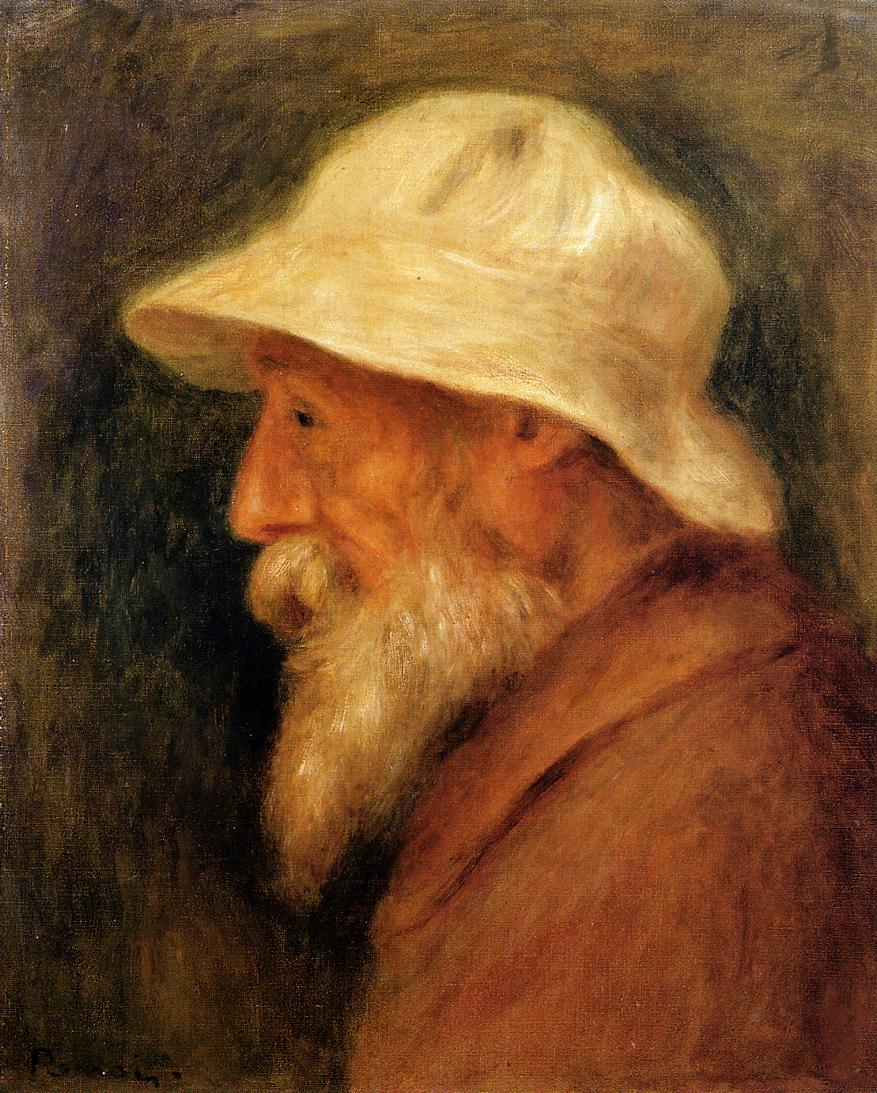 Self Portrait with a White Hat 1910 | Pierre Auguste Renoir | Oil Painting