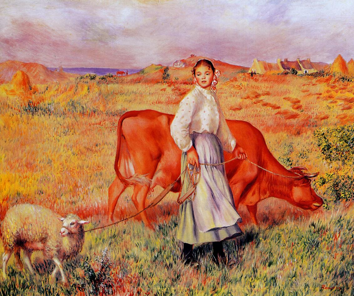 Shepherdess Cow and Ewe 1886-1887 | Pierre Auguste Renoir | Oil Painting