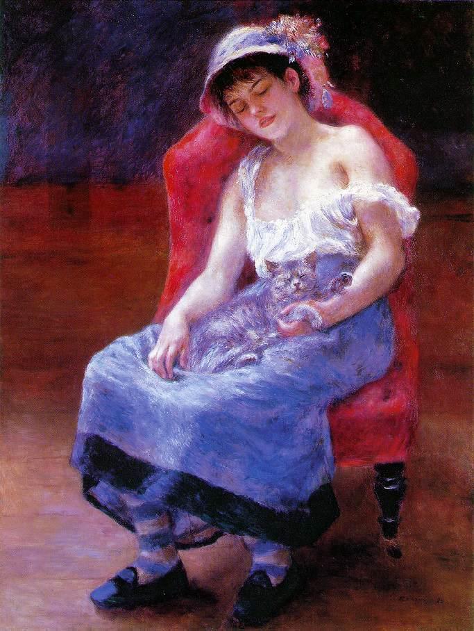 Sleeping Girl (aka Girl with a Cat) 1880 | Pierre Auguste Renoir | Oil Painting