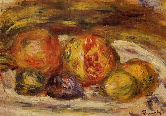 Still Life - Pomegranate Figs and Apples 1914-1915 | Pierre Auguste Renoir | Oil Painting