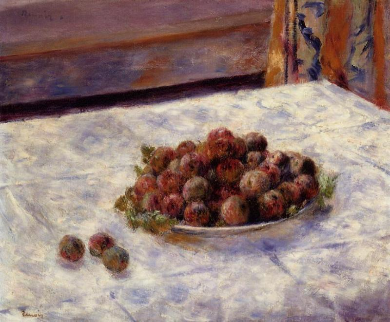 Still Life a Plate of Plums 1884 | Pierre Auguste Renoir | Oil Painting