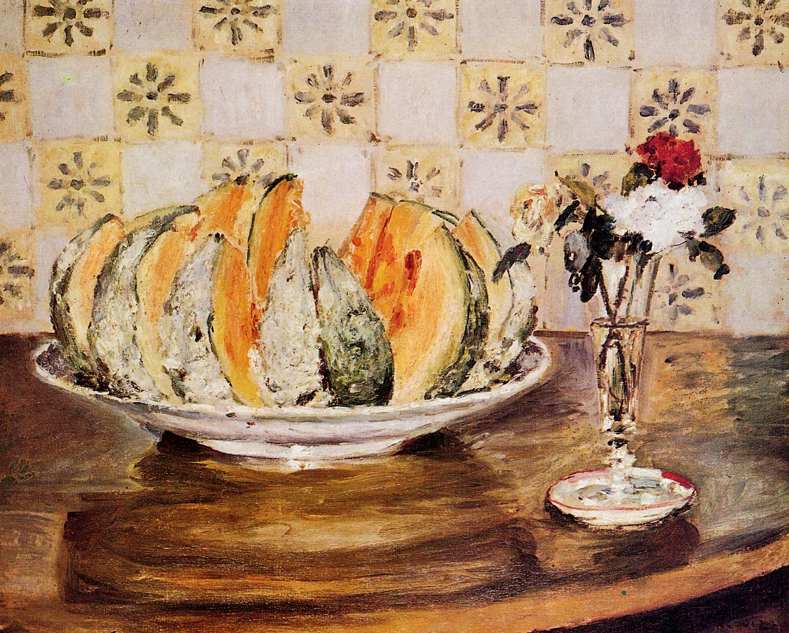Still Life with a Melon and a Vase of Flowers 1872 | Pierre Auguste Renoir | Oil Painting
