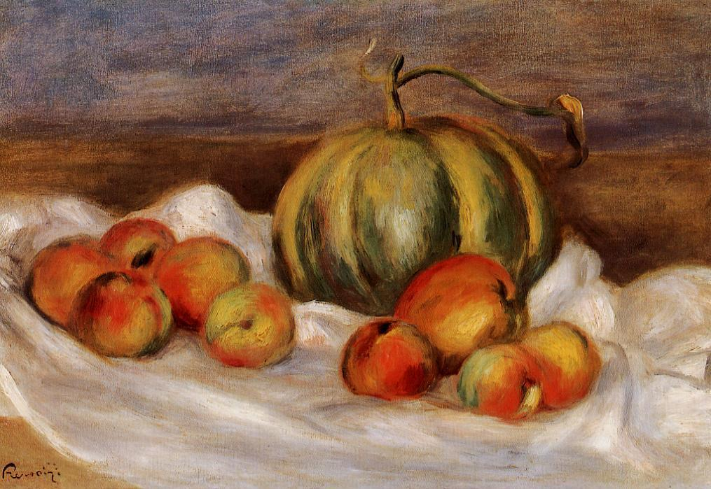 Still Life with Cantalope and Peaches 1905 | Pierre Auguste Renoir | Oil Painting
