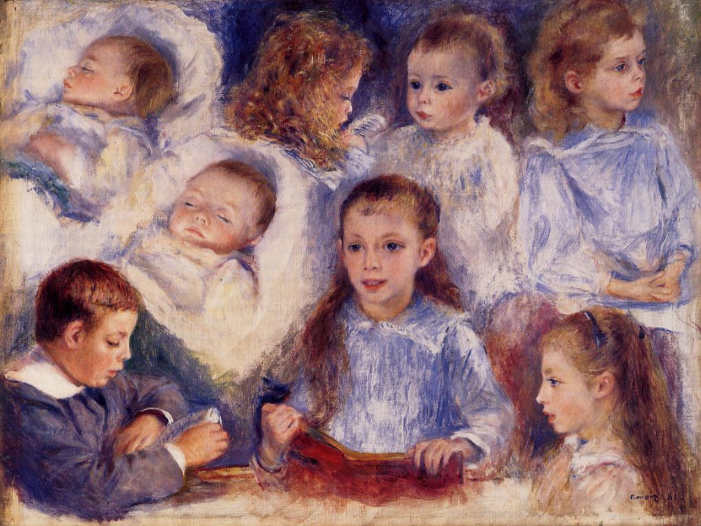Studies of the Children of Paul Berard 1881 | Pierre Auguste Renoir | Oil Painting