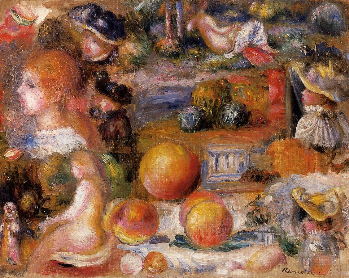 Studies Womans Heads Nudes Landscapes and Peaches 1895-1896 | Pierre Auguste Renoir | Oil Painting