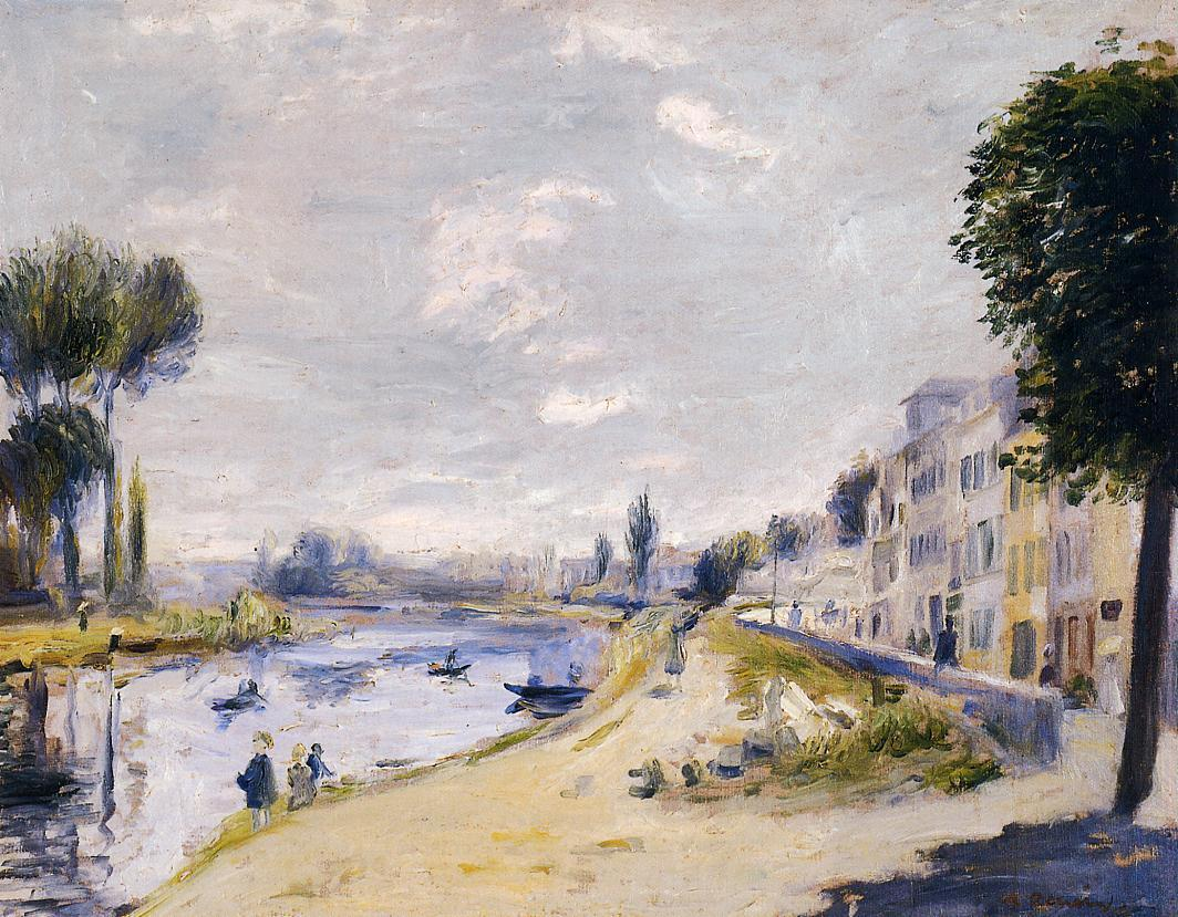 The Banks of the Seine Bougival 1875   Pierre Auguste Renoir   Oil Painting