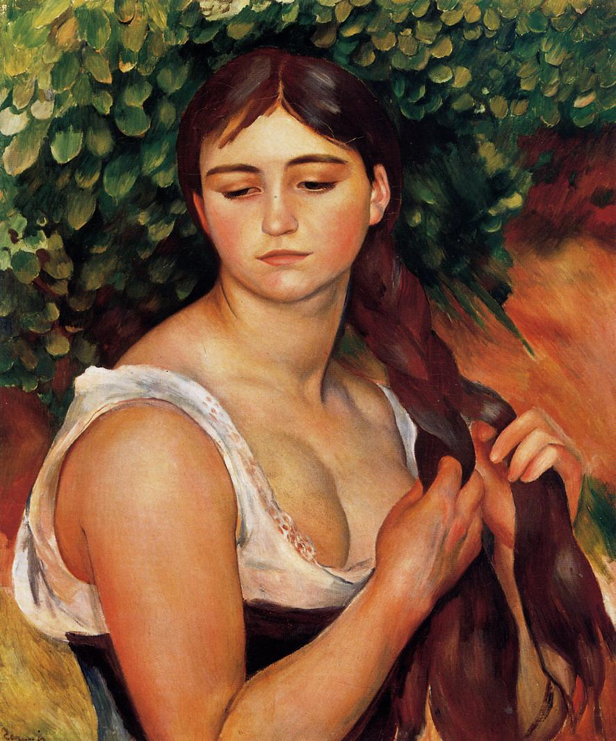 The Braid (aka Suzanne Valadon) 1884-1886 | Pierre Auguste Renoir | Oil Painting