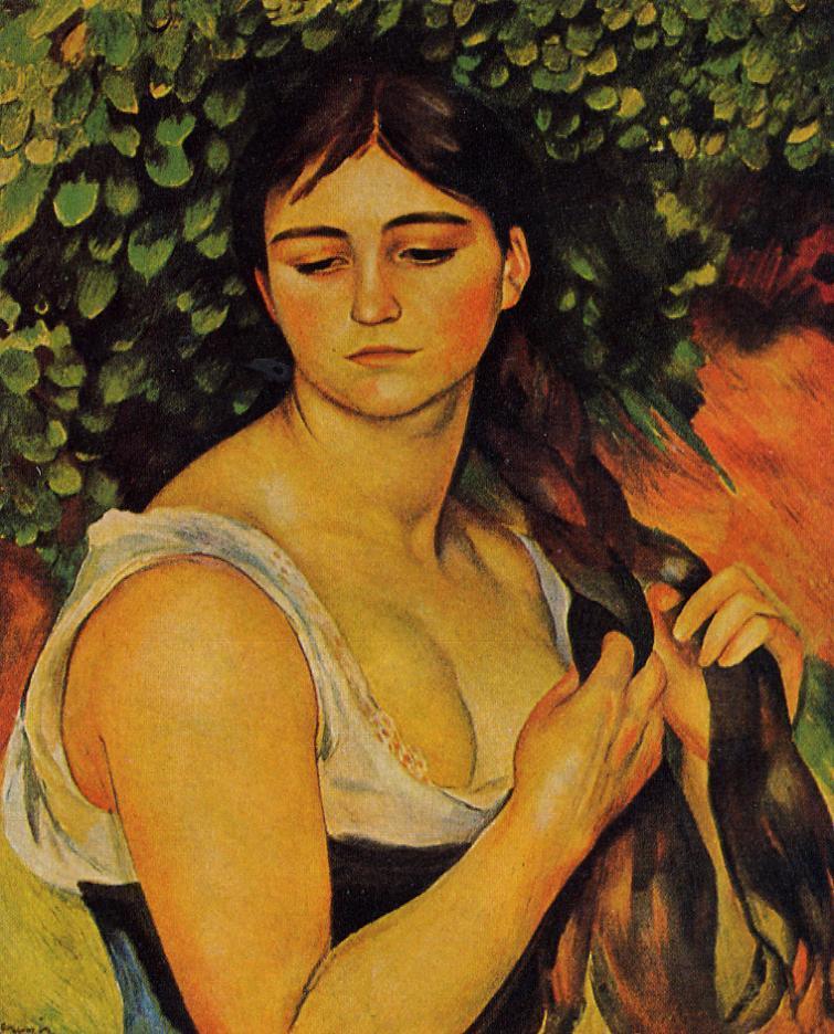 The Braid Suzanne Valadon 1886 | Pierre Auguste Renoir | Oil Painting