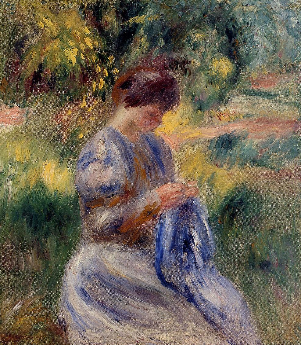 The Embroiderer (aka Woman Embroidering in a Garden) 1898 | Pierre Auguste Renoir | Oil Painting