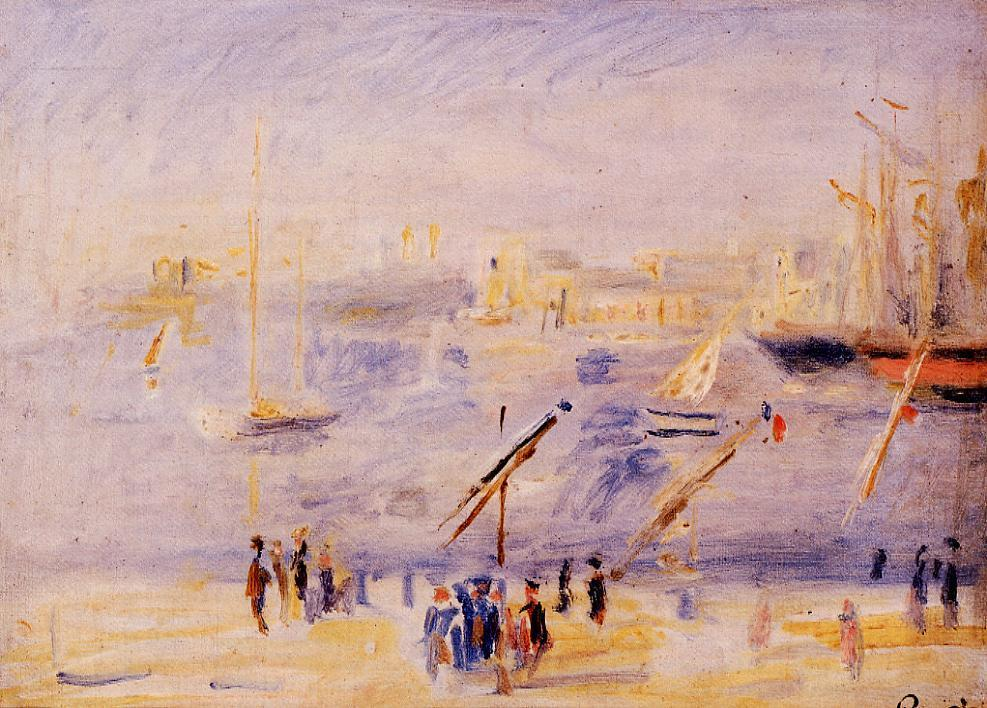 The Old Port of Marseille People and Boats 1890 | Pierre Auguste Renoir | Oil Painting