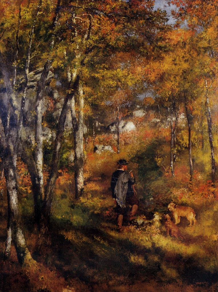 The Painter Jules Le Coeur Walking His Dogs in the Forest of Fontainebleau 1866 | Pierre Auguste Renoir | Oil Painting