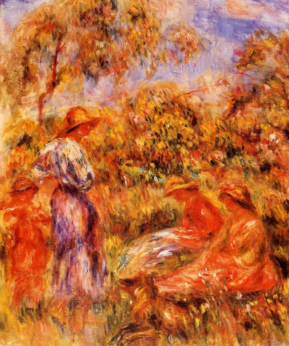 Three Women and Child in a Landscape 1918 | Pierre Auguste Renoir | Oil Painting