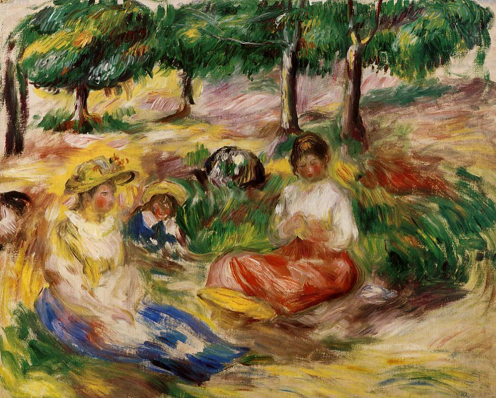 Three YOung Girls Sitting in the Grass 1896-1897 | Pierre Auguste Renoir | Oil Painting