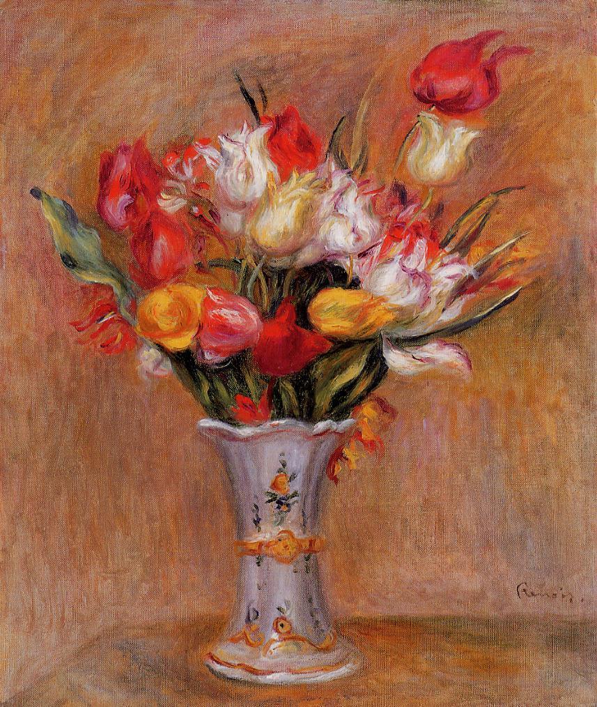 Tulips 1909   Pierre Auguste Renoir   Oil Painting