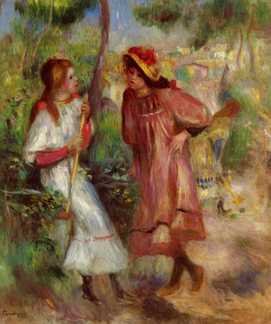 Two Girls in the Garden at Montmartre 1895 | Pierre Auguste Renoir | Oil Painting